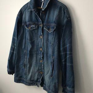 Free People Jackets & Coats - Free People Ramona distressed denim jacket Large